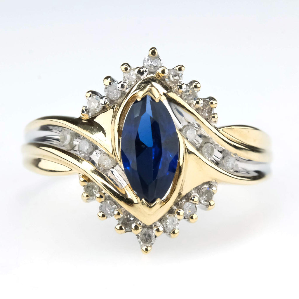 Sapphire Crisscross Bypass Ring with Diamond Halo in 10K Yellow Gold Gemstone Rings Oaks Jewelry