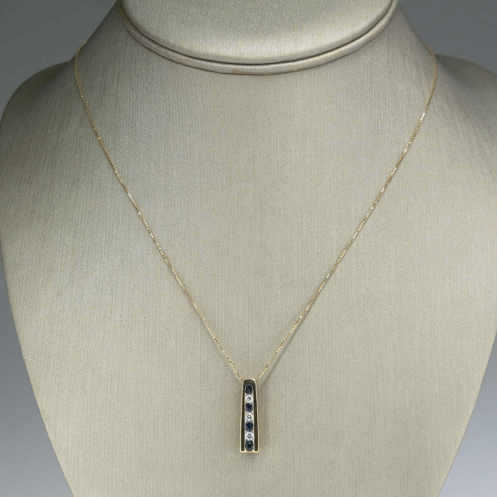 "Sapphire & Diamond Vertical Bar Pendant on 18"" Box Chain in 14K Yellow Gold Pendants with Chains Oaks Jewelry"