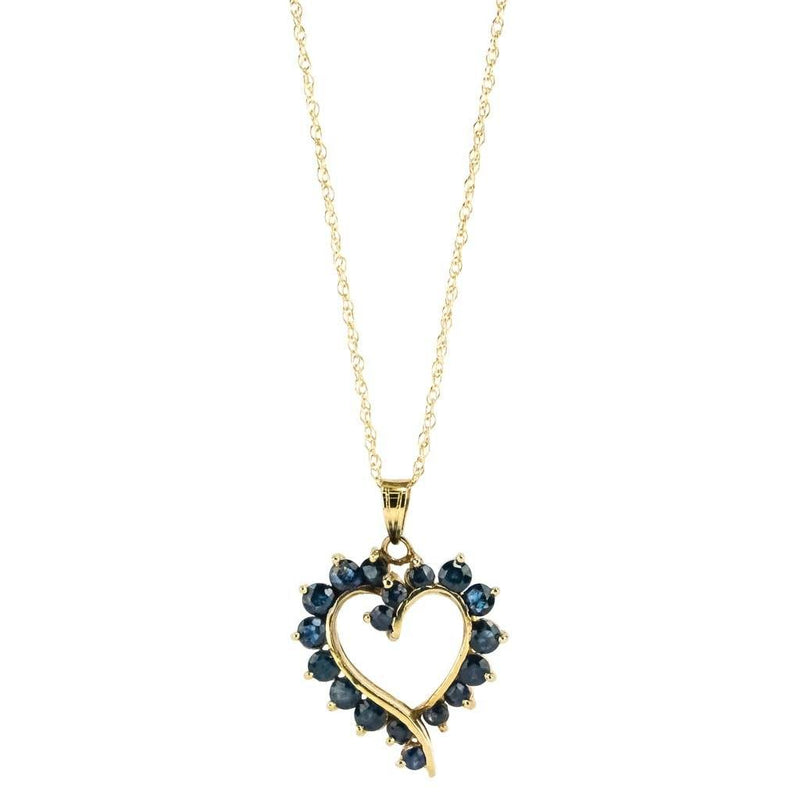 "Sapphire Open Heart Pendant 18"" Necklace 1.25ctw in 14K Yellow Gold Pendants with Chains Oaks Jewelry"