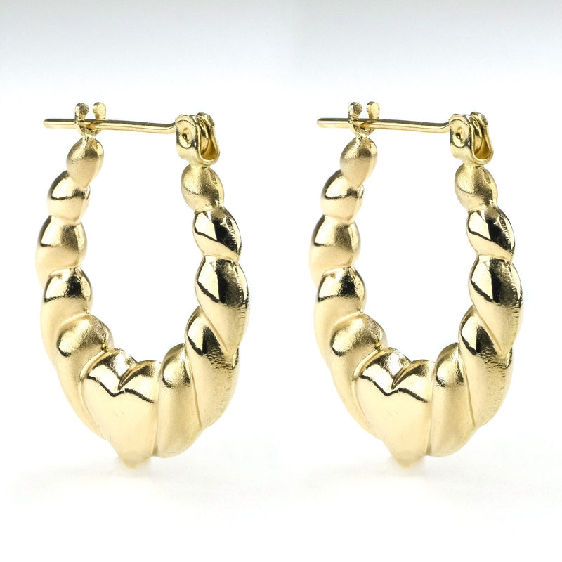 Scalloped Heart Hollow Hoop Earrings in 14K Yellow Gold Earrings Oaks Jewelry