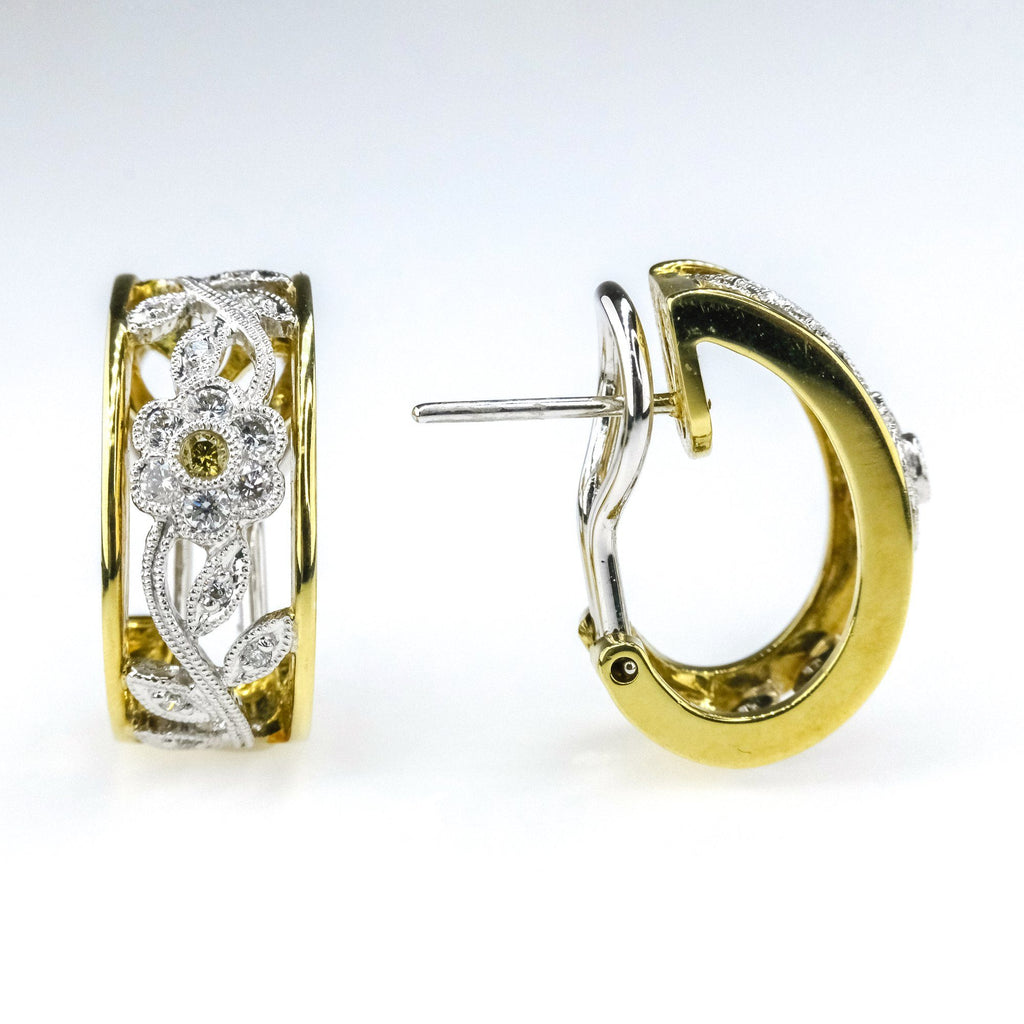 Simon G 0.39ctw Diamond Accents Milgrain Flower Hoop Earrings in 18K Yellow Gold Earrings Simon G