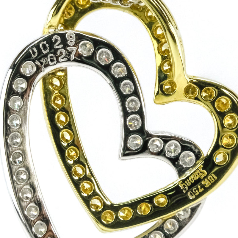 "Simon G 0.56ctw Diamond Accented Double Heart 15"" Necklace in 18K Two Tone Gold Pendants with Chains Simon G"