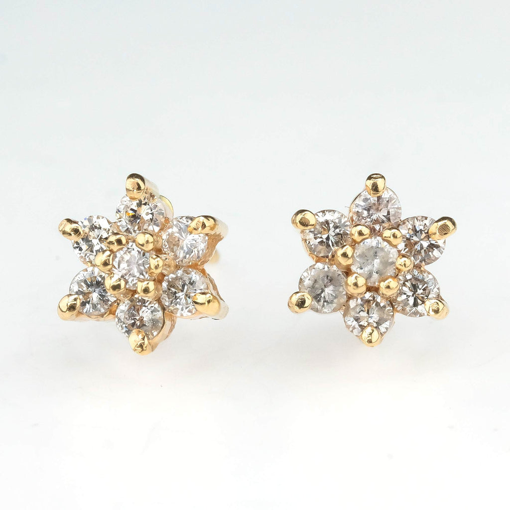 Starburst Diamond Cluster Stud Earrings in 14K Yellow Gold Earrings Oaks Jewelry