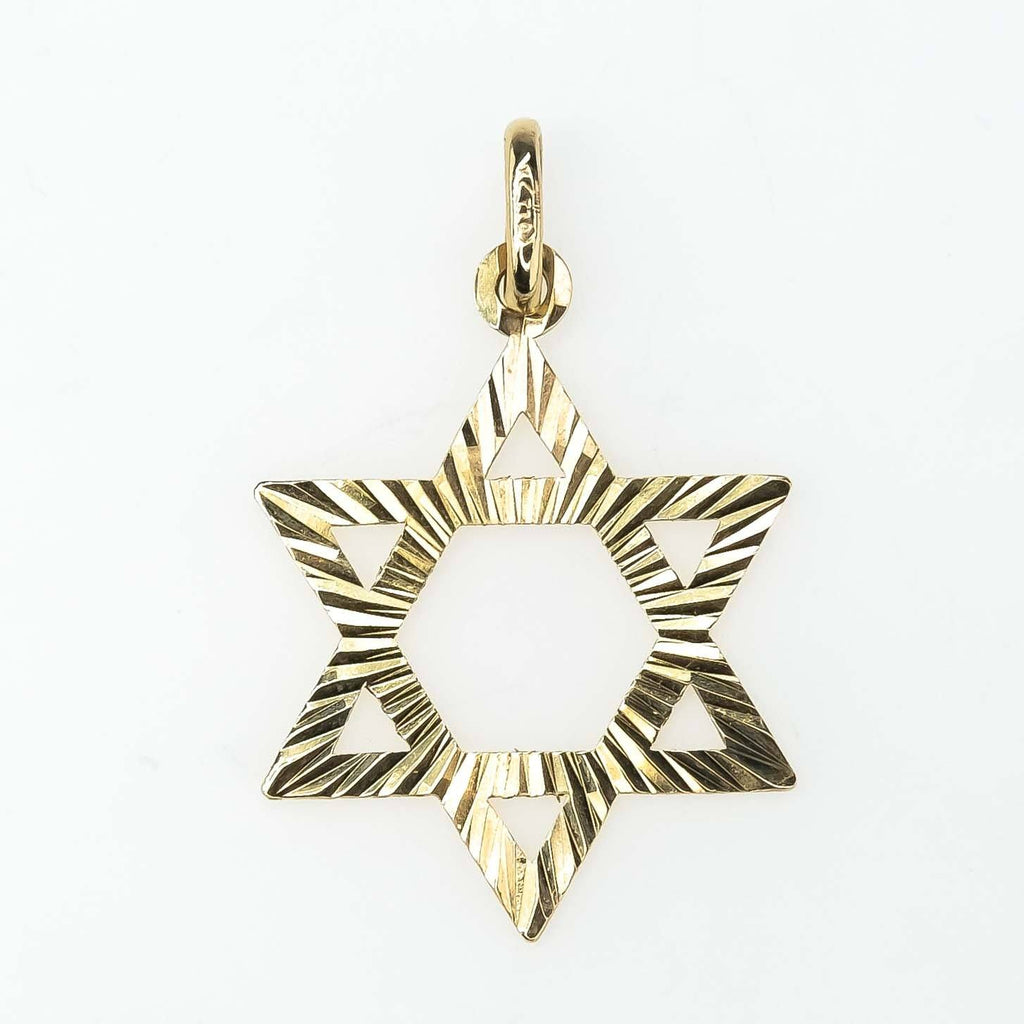 Starburst Star of David Pendant in 14K Yellow Gold Pendants Oaks Jewelry