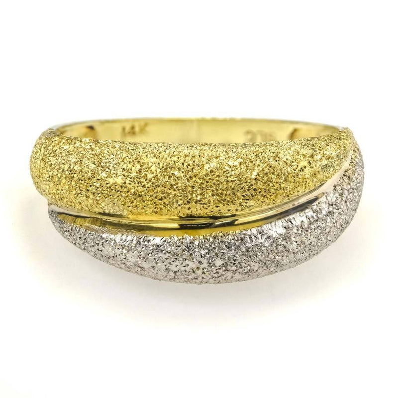Stardust Textured Crossover Ring in 14K Two Tone Gold Metal Rings Oaks Jewelry