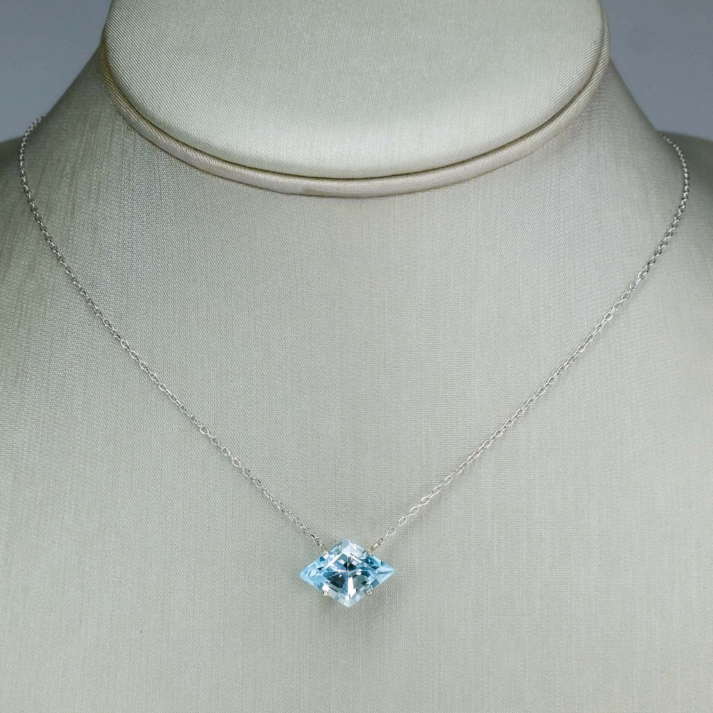 Swiss Blue Topaz Kite Fixed Solitaire Necklace in 14K White Gold Necklaces Oaks Jewelry