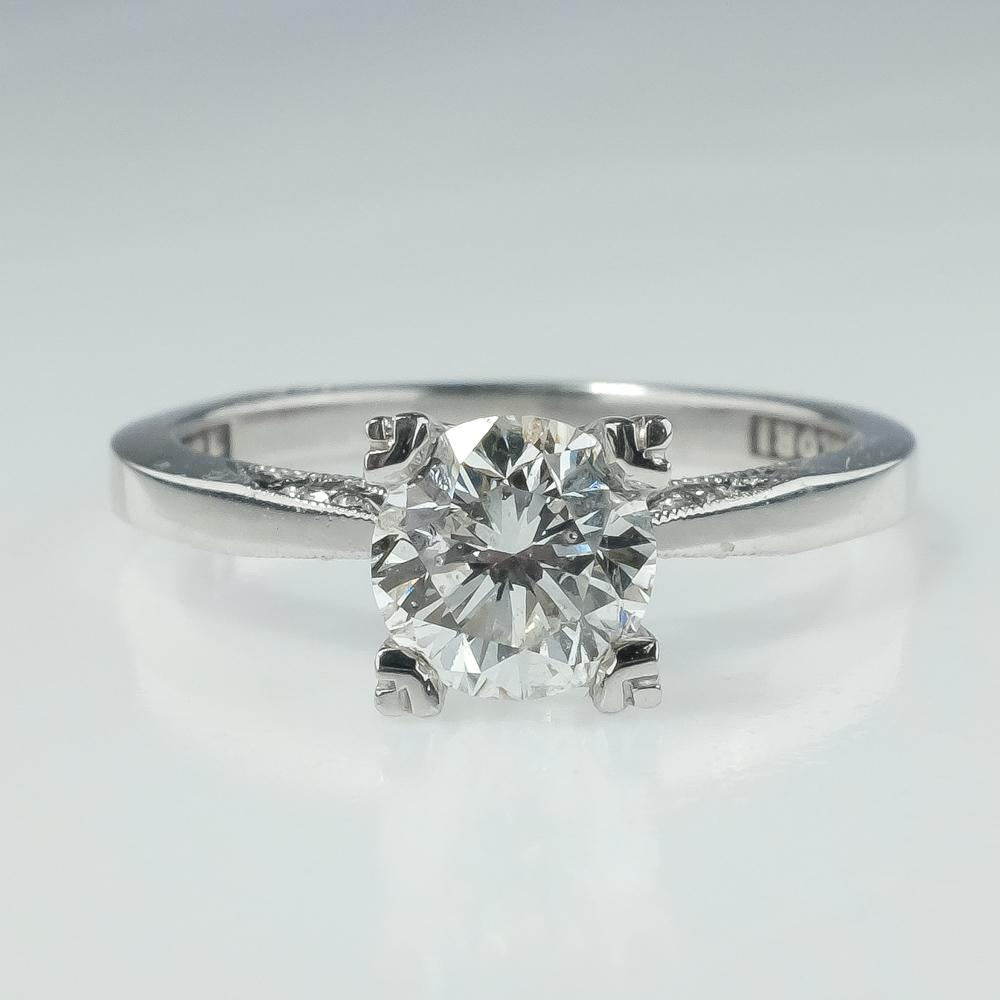 Tacori 1.02ct GIA Diamond SI2/H Side Accented Engagement Ring 18K White Gold Engagement Rings Tacori