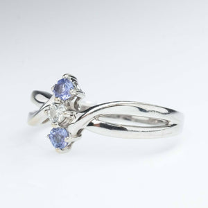 Tanzanite and Diamond Bypass Ring in 14K White Gold Gemstone Rings Oaks Jewelry