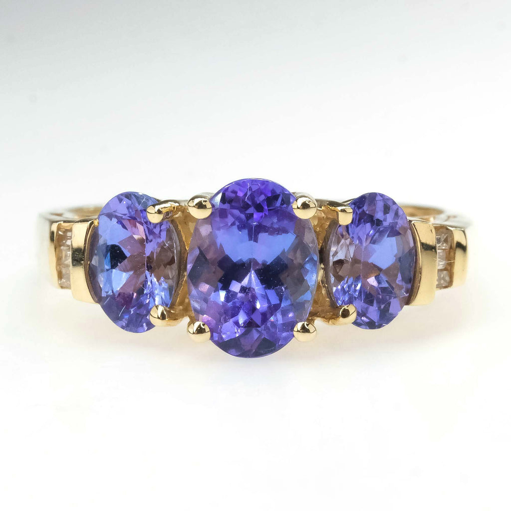 Tanzanite and Diamond Three Stone Ring in 14K Yellow Gold Gemstone Rings Oaks Jewelry