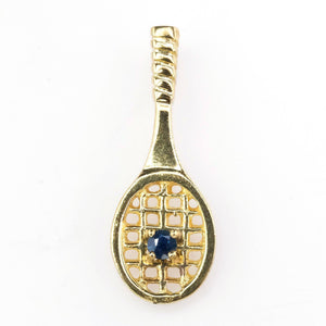 Tennis Racquet Pendant with Sapphire Accent in 18K Yellow Gold Pendants Oaks Jewelry