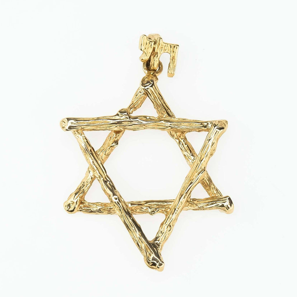 Textured Tree Branch Star of David with Chai Bail Pendant in 14K Yellow Gold Pendants Oaks Jewelry