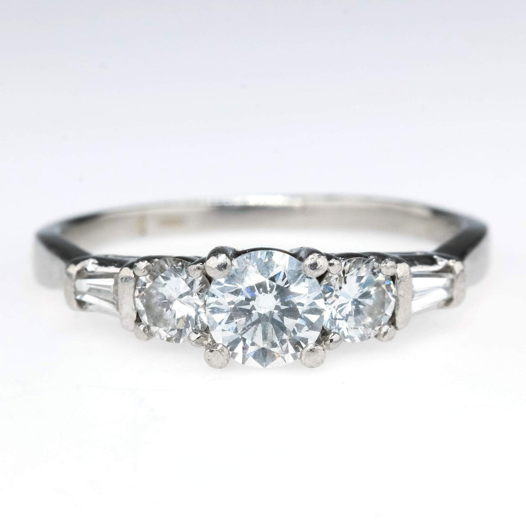 Three Stone Diamond with Side Accents Engagement Ring in Platinum Engagement Rings Oaks Jewelry