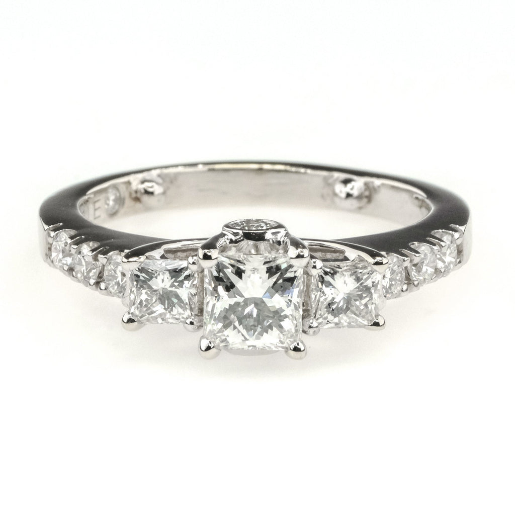 Three Stone Princess Cut Leo Diamond Engagement Ring 1.05ctw in 14K White Gold Engagement Rings Leo