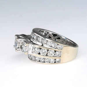 Three Stone Three Row 2.80ctw Diamond Engagement Ring in 14K White Gold Engagement Rings Oaks Jewelry