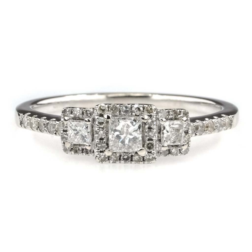 Three Stone with Halo Diamond Engagement Ring 0.50ctw in 14K White Gold Engagement Rings Oaks Jewelry