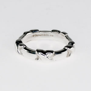 "Tiffany & Co. 925 Sterling Silver Narrow Signature ""X"" Stacking Ring Size 5.5 Metal Rings Tiffany & Co."