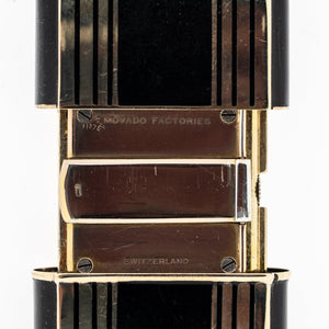 Tiffany & Co. Black & Gold Tone Vintage Movado Travel Watch Clock Watches Tiffany & Co.