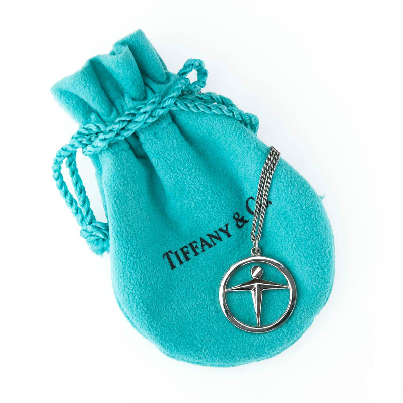 "Tiffany & Co. Manpower Temp Agency Logo Pendant and 18"" Chain in Sterling Silver Pendants with Chains Tiffany & Co."