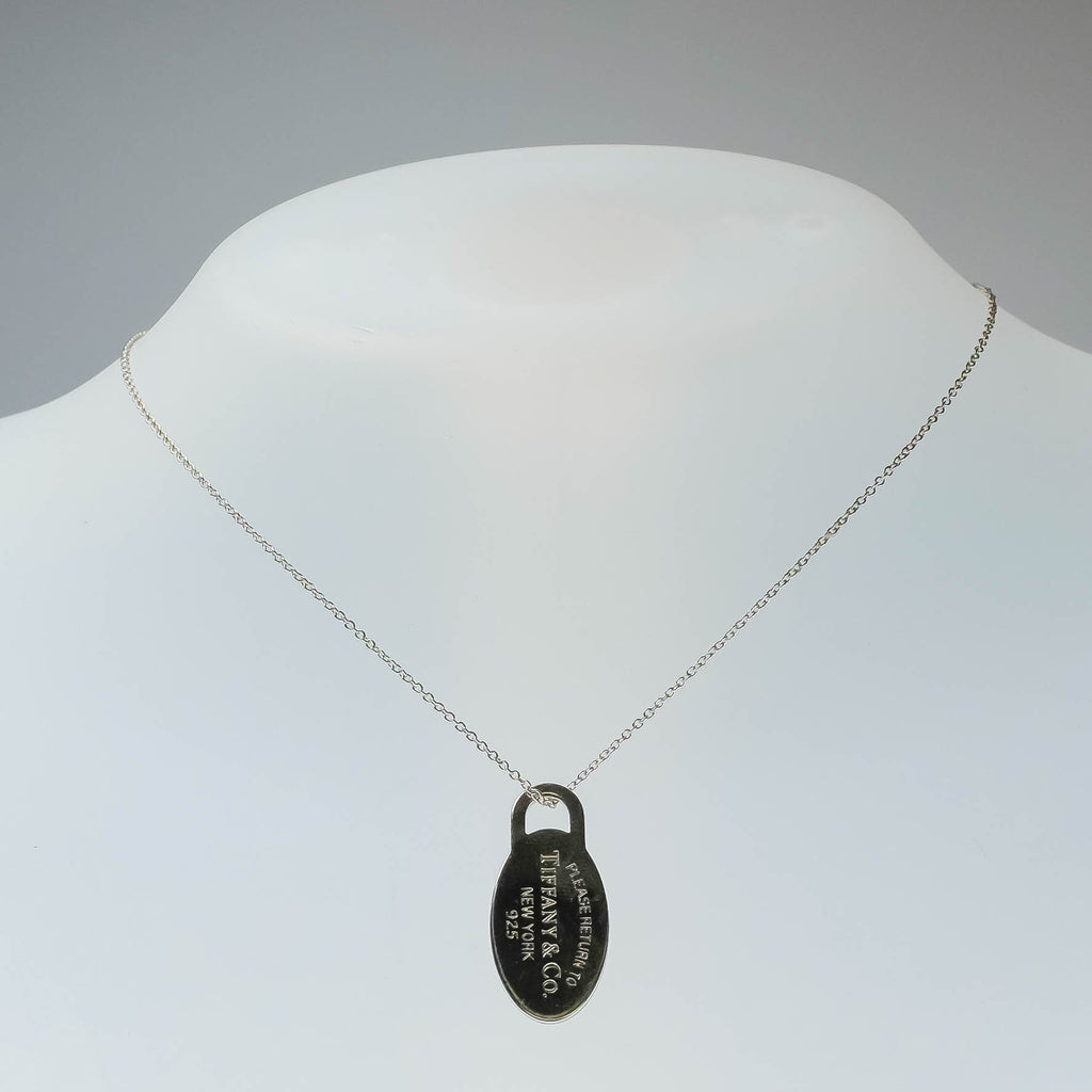 "Tiffany & Co. Sterling Silver Oval Tag Pendant on 18"" Chain Necklace Pendants with Chains Tiffany & Co."