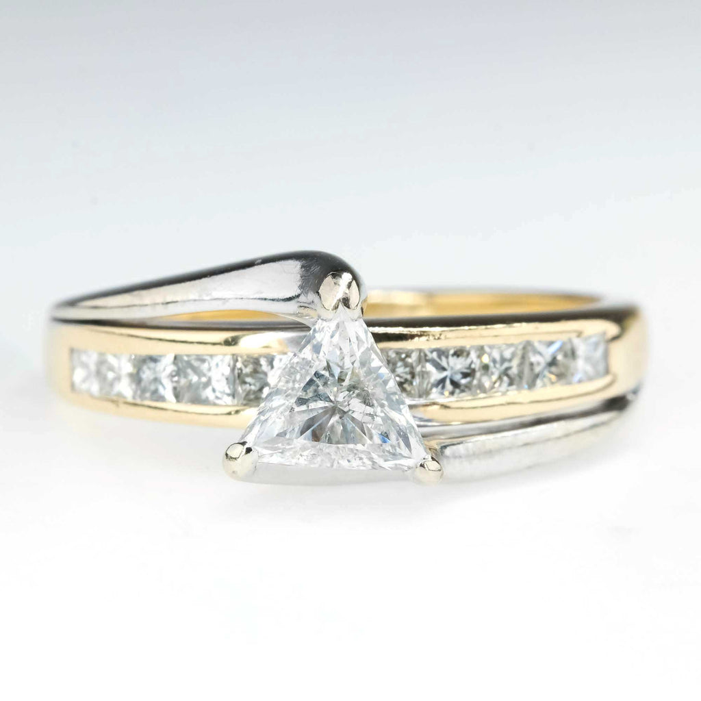 Trillion and Princess Cut Diamond Bypass Engagement Ring in 14K Two Tone Gold Engagement Rings Oaks Jewelry