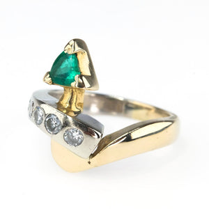 Trillion Cut Emerald & Round Diamond Accented Ring in 14K Two Tone Gold Gemstone Rings Oaks Jewelry