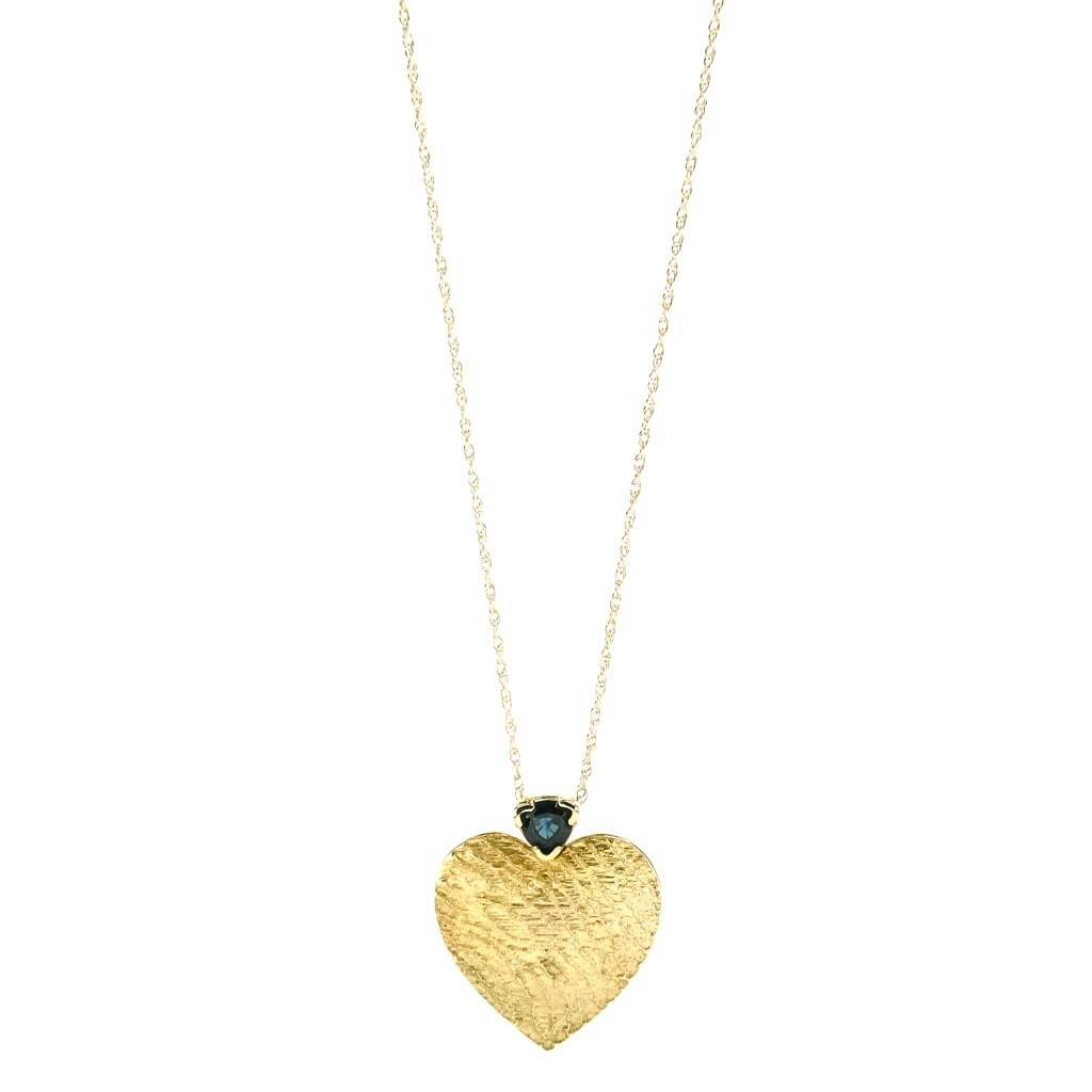 "Trillion Cut Sapphire Heart Pendant 18"" Necklace 0.40ct in 14K Yellow Gold Pendants with Chains Oaks Jewelry"