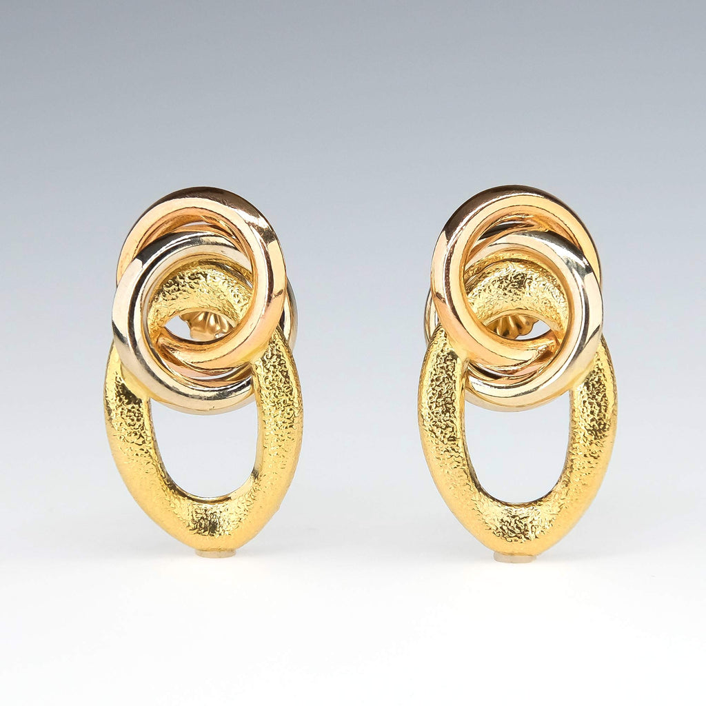 Triple Interlocking Loop Drop Earrings in 18K Tricolor Gold Earrings Oaks Jewelry