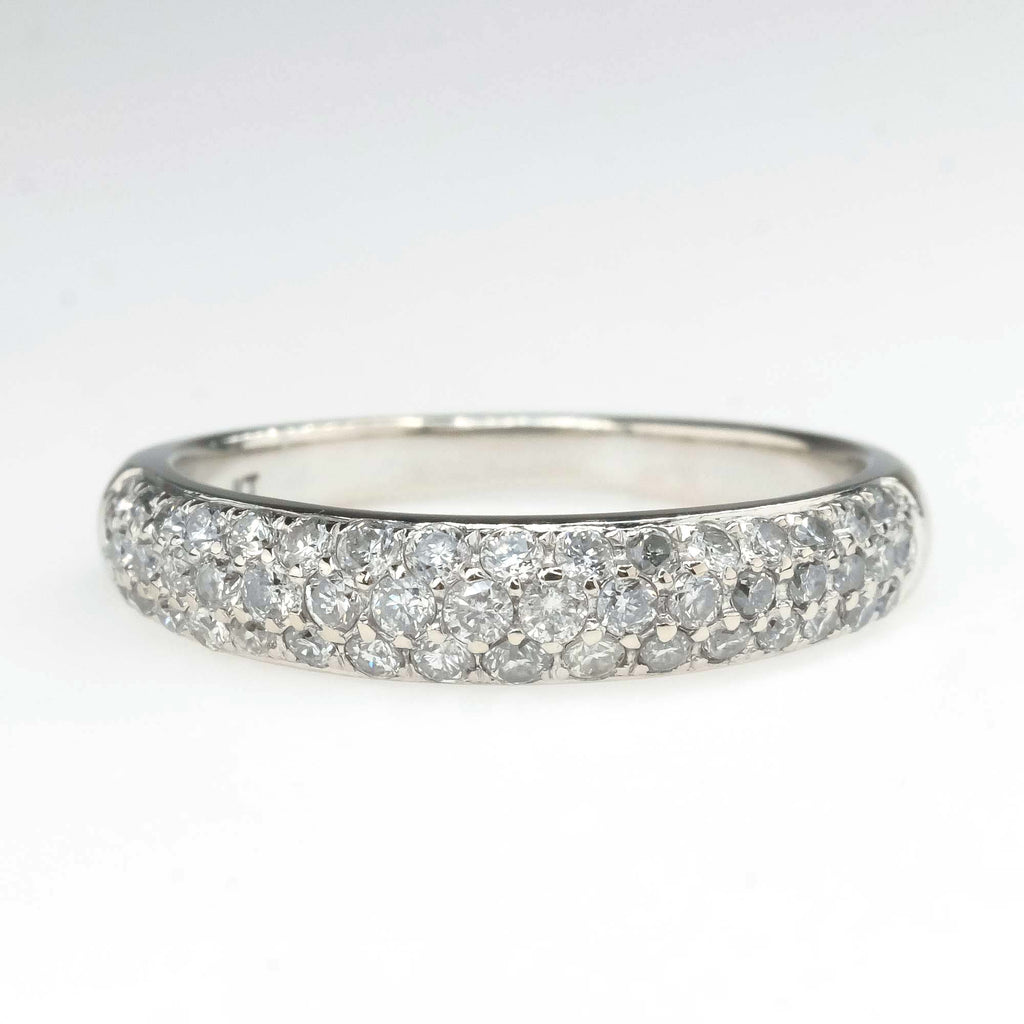 Triple Row Pave Diamond Wedding Band in 14K White Gold Wedding Rings Oaks Jewelry