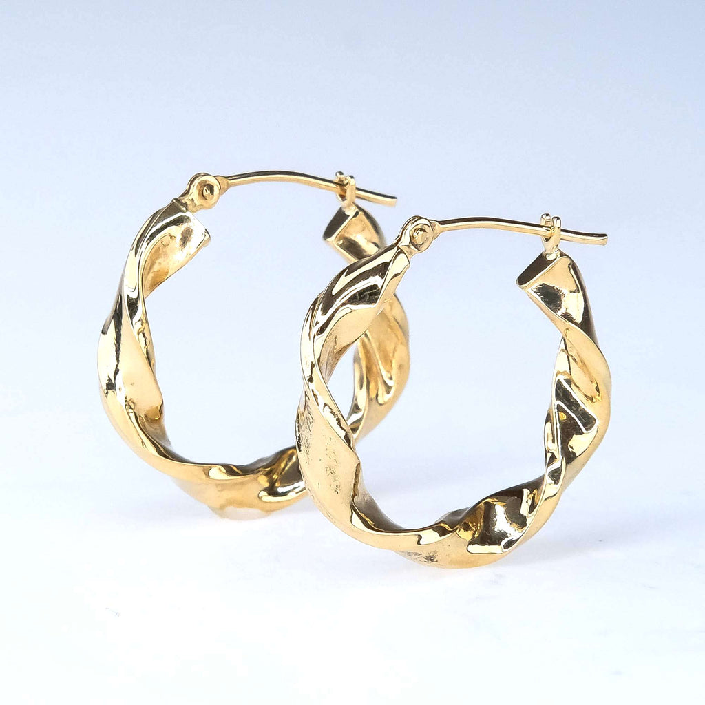 Twisted Hollow Hoops in 14K Yellow Gold Earrings Oaks Jewelry