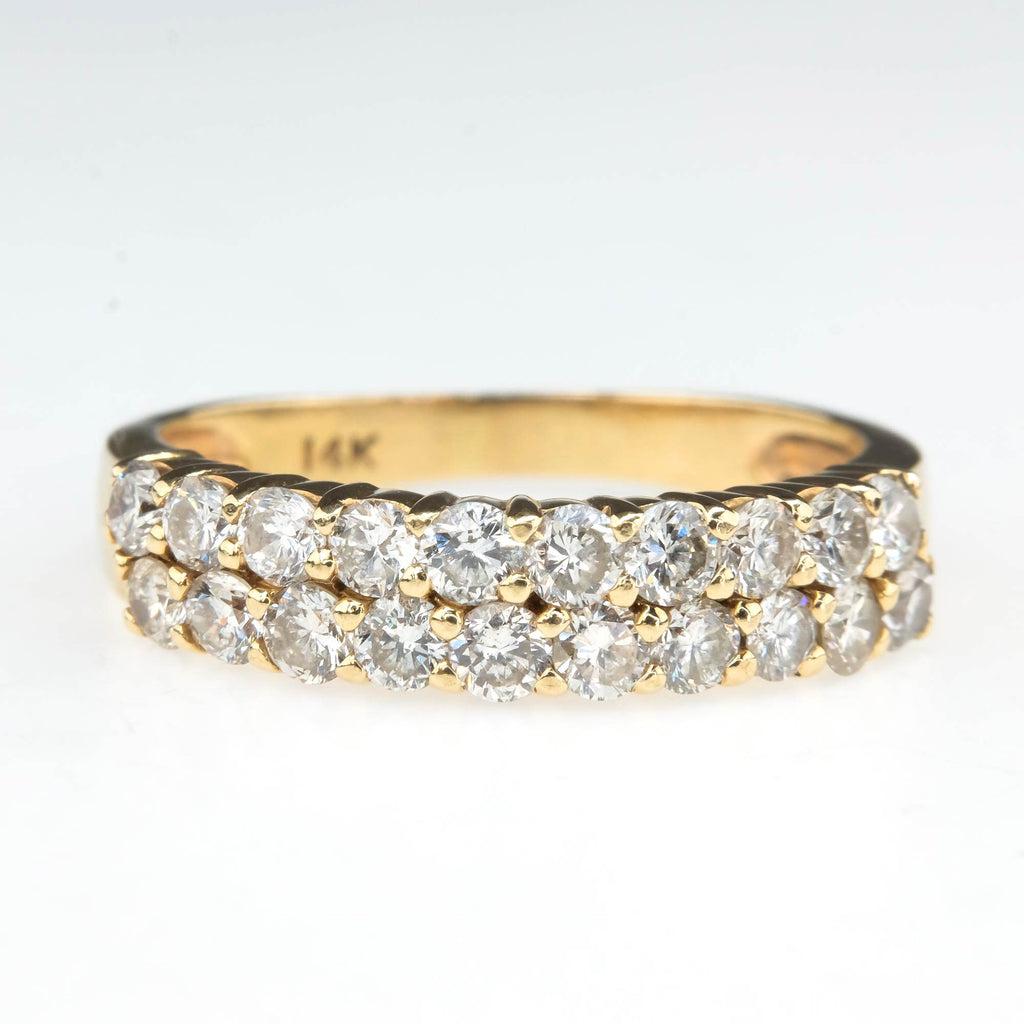 Two Row 1.00ctw Diamond Anniversary Band in 14K Yellow Gold Size 6.25 Wedding Rings Oaks Jewelry