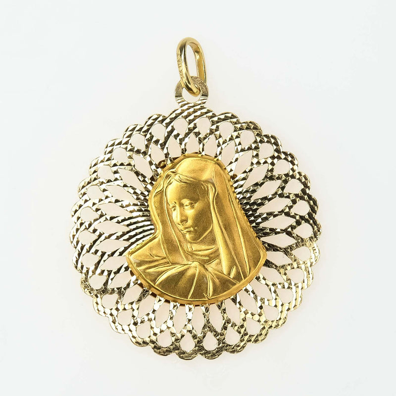 Two Sided Jesus & Mary Pendant in 14K Yellow Gold Pendants Oaks Jewelry