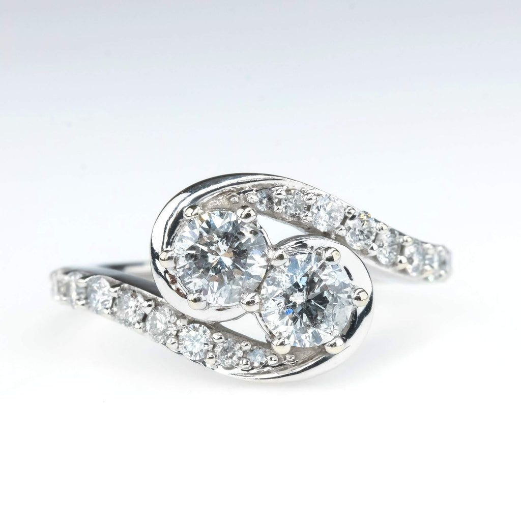 Two Stone Diamond Engagement Ring with Accents in 14K White Gold Engagement Rings Oaks Jewelry