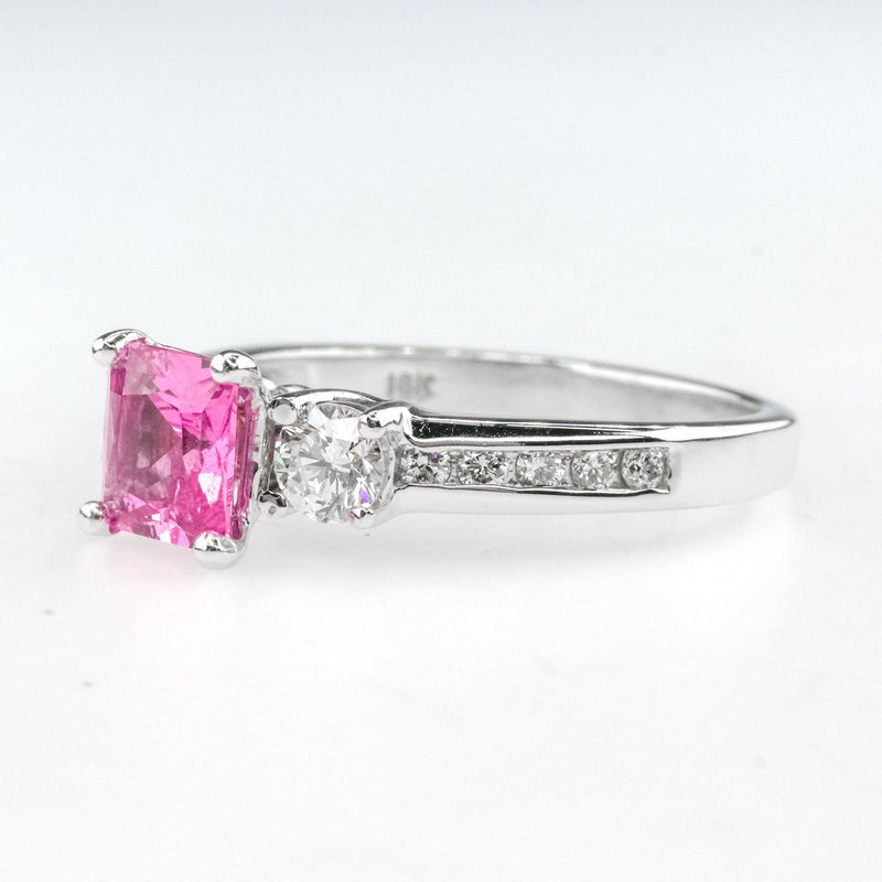 UGL Certified Square Pink Sapphire & Diamond Engagement Ring in 18K White Gold Engagement Rings Oaks Jewelry