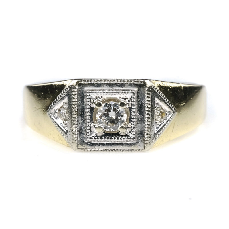 Vintage 0.19ctw Diamond Accented Three Stone Men's Ring in 10K Two Tone Gold Diamond Rings Oaks Jewelry