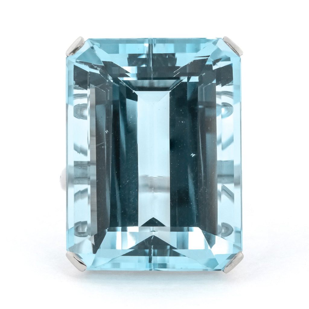 Vintage 36.48ct GIA Natural Step Cut Aquamarine Gemstone Ring in Platinum Gemstone Rings Oaks Jewelry