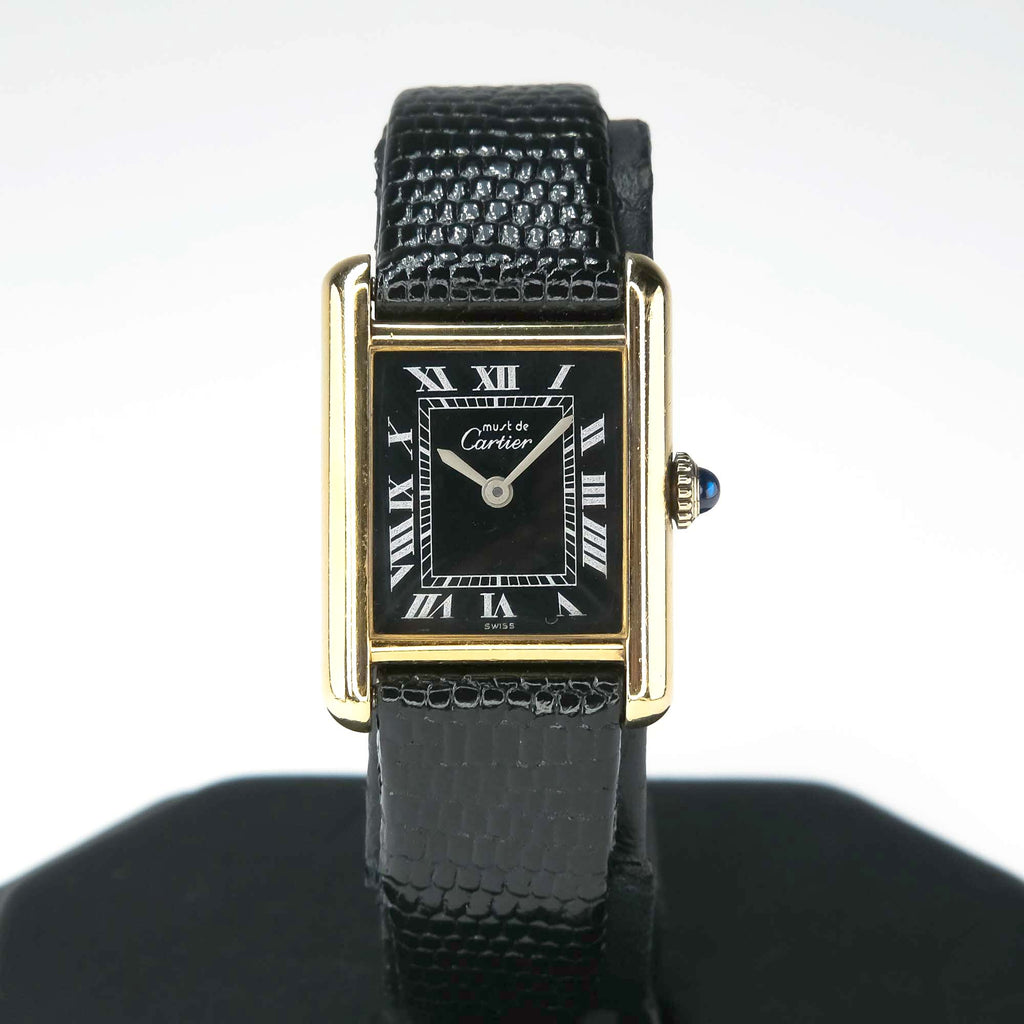 Vintage Must De Cartier Tank Black Leather Wristwatch Watches Cartier