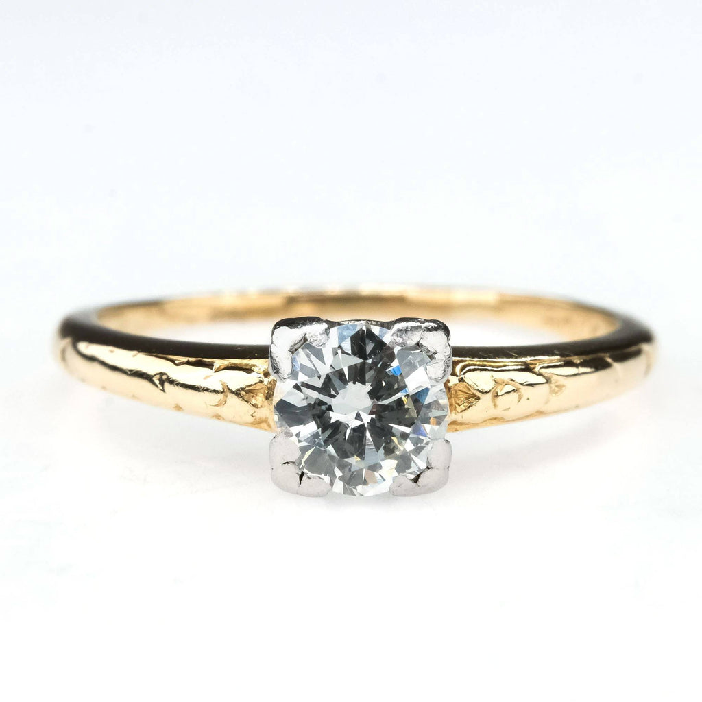 Vintage Round 0.45ct Diamond Solitaire Etched Engagement Ring in 14K Yellow Gold Engagement Rings Oaks Jewelry