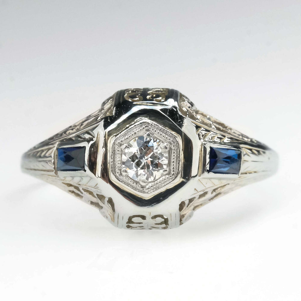 Vintage Round Diamond & Sapphire Art Deco Engagement Ring in 14K White Gold Engagement Rings Oaks Jewelry