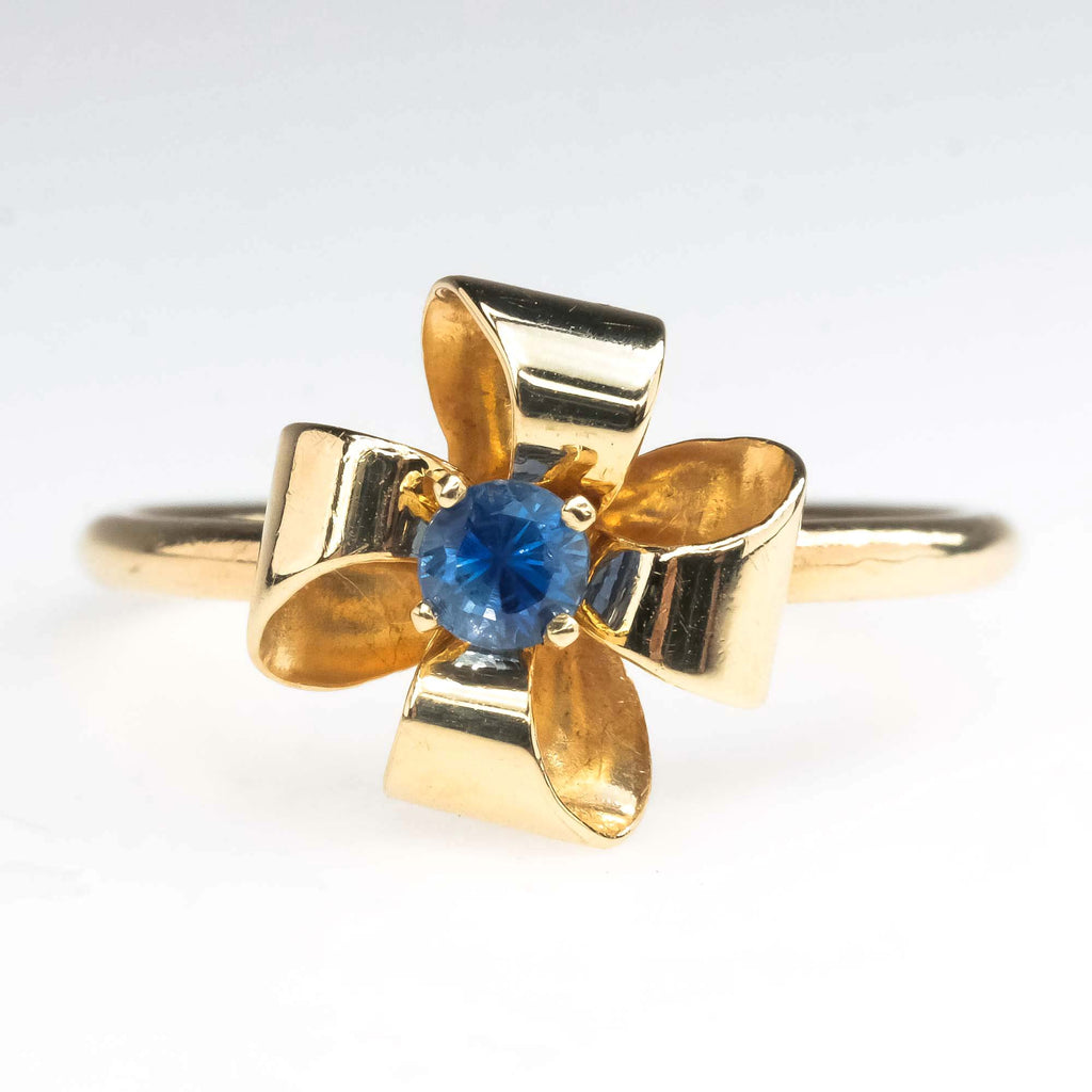 Vintage Sapphire Solitaire Bow Ring in 14K Yellow Gold Gemstone Rings Oaks Jewelry
