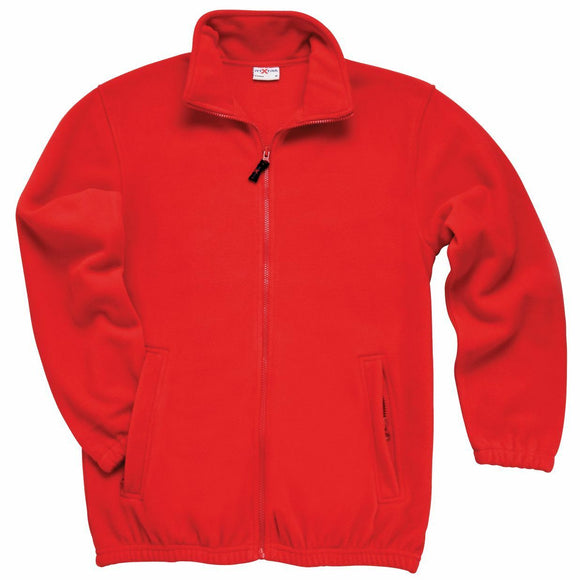 Red heavyweight full zip fleece jacket