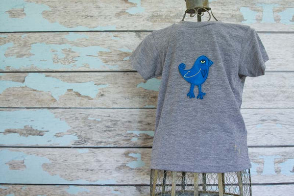Sky Blue Bird on Gray Crew