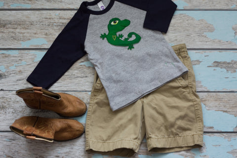 Emerald Green Gecko on Navy/Gray Raglan