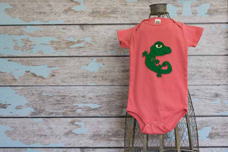 Emerald Green Gecko on Coral Organic Onesie