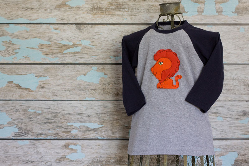Red Lion on Navy/Gray Raglan