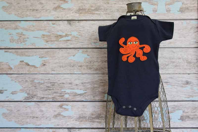 Orange Octopus on Navy Organic Onesie
