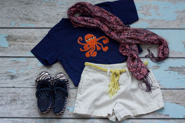 Orange Octopus on Navy Crew