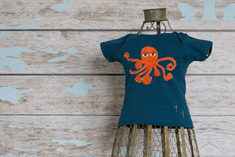 Orange Octopus on Cerulean Laptee