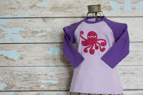 Hot Pink Octopus on Purple/Violet Raglan