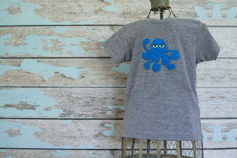 Sky Blue Octopus on Gray Crew