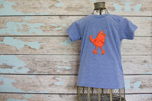 Fluorescent Orange Mohawk Bird on Light Blue Crew
